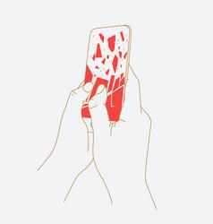 phone breakdown in hands vector image