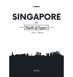 poster city skyline singapore flat style vector image