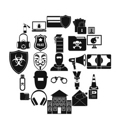 prosecution icons set simple style vector image