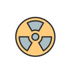 Radiation hazard sign flat color line icon vector