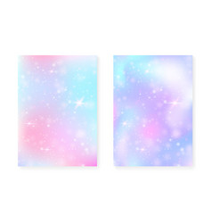 rainbow background with kawaii princess gradient vector image
