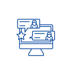reviews line icon concept reviews flat vector image