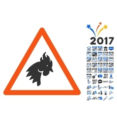 Rooster Warning Icon With 2017 Year Bonus vector