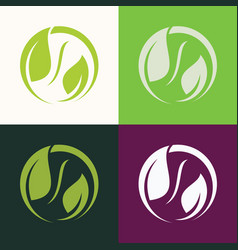 Round green leaf logo vector