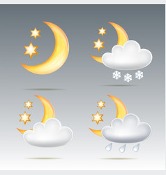 semimonthly and stars behind cloud in night sky vector image