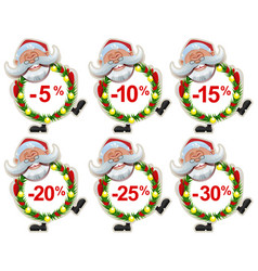 set discount label santa claus christmas wreath of vector image