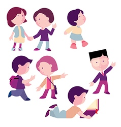 Set of children boys and girls for different act vector
