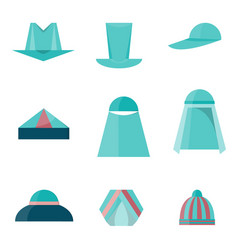 set of different hats flat style icons vector image