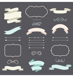 set romantic arrows ribbons and labels in retro vector image