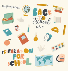 Set school icons textbook apple and notebook vector