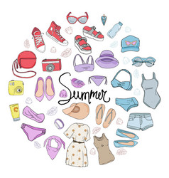 Set with isolated fashion objects vector