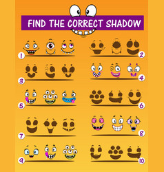 shadow matching children game monster emoticons vector image