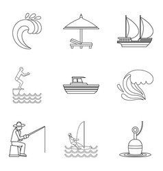 Shore rest icons set outline style vector