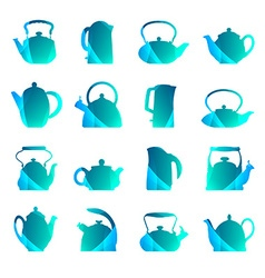 silhouettes stylized flat logo teapot set isolated vector image
