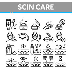 Skin care cosmetic collection icons set vector