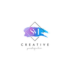Sm artistic watercolor letter brush logo vector