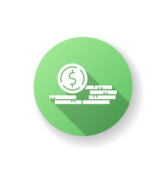 stack coins green flat design long shadow vector image