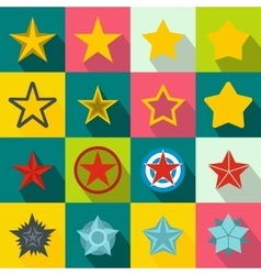Star icons set flat style vector image