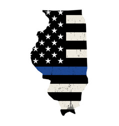 state illinois police support flag vector image