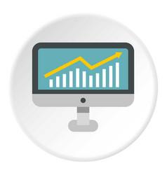 Statistics on monitor icon circle vector