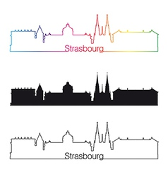 Strasbourg skyline linear style with rainbow vector image