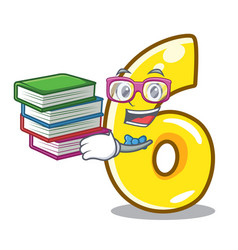 Student with book number six isolated on the vector