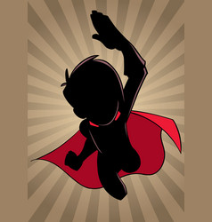 super boy flying ray light silhouette vector image