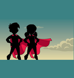 super kids sky silhouette vector image