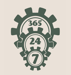 Timing badge symbol 7 24 vector