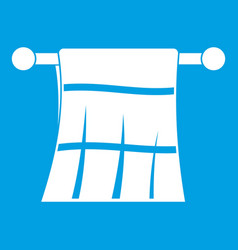 Towel on a hanger icon white vector