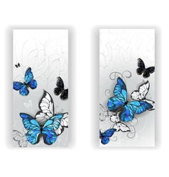 Two Banners with Butterflies Morpho vector