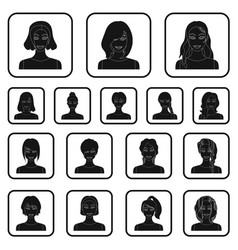 types of female hairstyles black icons in set vector image