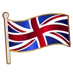 Union flag fluttering pin vector