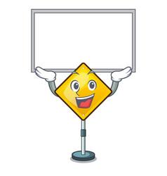 Up board harm warning sign shaped on cartoon vector
