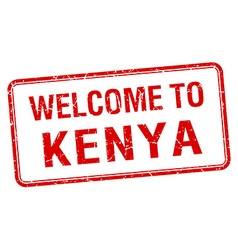 welcome to Kenya red grunge square stamp vector image
