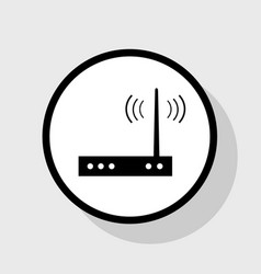 Wifi modem sign flat black icon in white vector