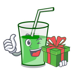 with gift green smoothie mascot cartoon vector image