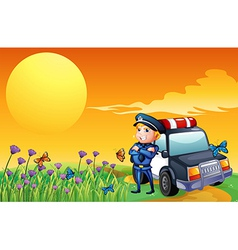 A sunset view with a policeman and a car at the vector image vector image