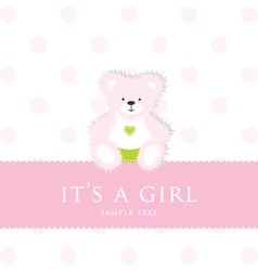 Baby Girl Teddy Card vector image