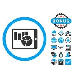 Charts on pda flat icon with bonus vector