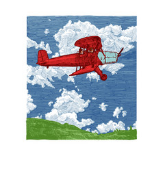 color drawing of airplane stylized as engraving vector image