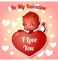 Cute little devil for valentines day vector