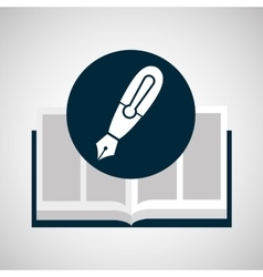 education opened book pen writing vector image vector image