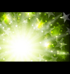 glowing bright green background with stars and vector image vector image