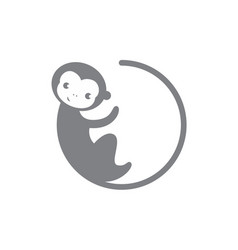 grey circle monkey icon vector image