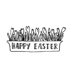 happy easter card with spring flowers lettering vector image