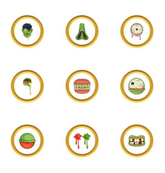 icons set cartoon style vector image vector image