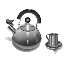 iron kettle with a whistle and metal mug vector image vector image