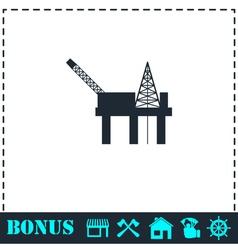 Oil platform icon flat vector image