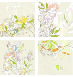 set1 with floral background vector image vector image